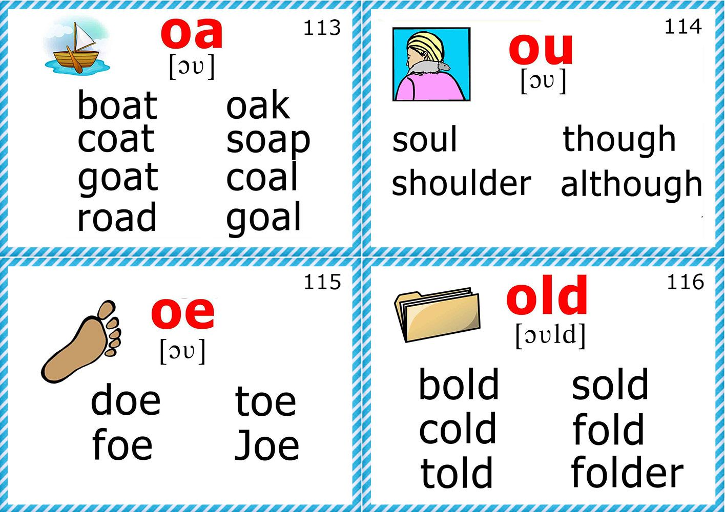 Phonics Flashcards Long O Vowel