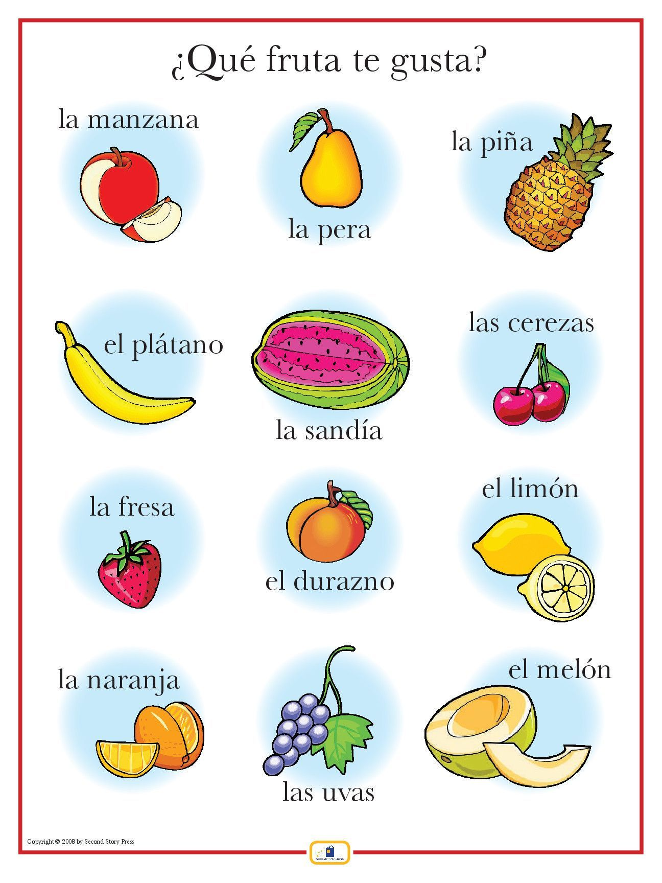 Spanish Fruits Poster