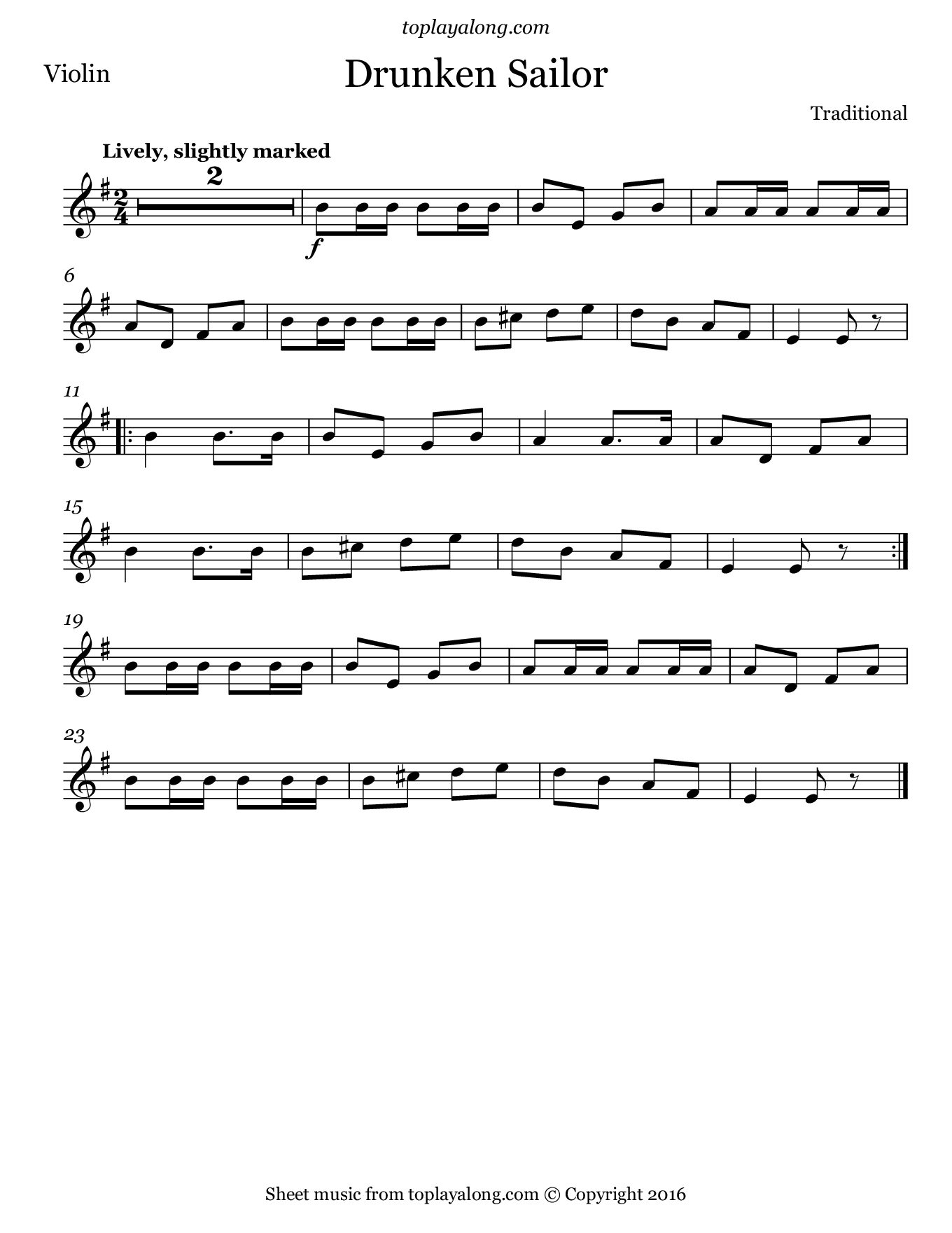 Drunken Sailor Free Sheet Music For Violin Visit
