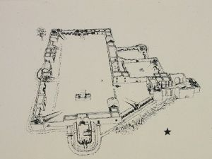 Layout of the Alamo at the time of the siege in 1836