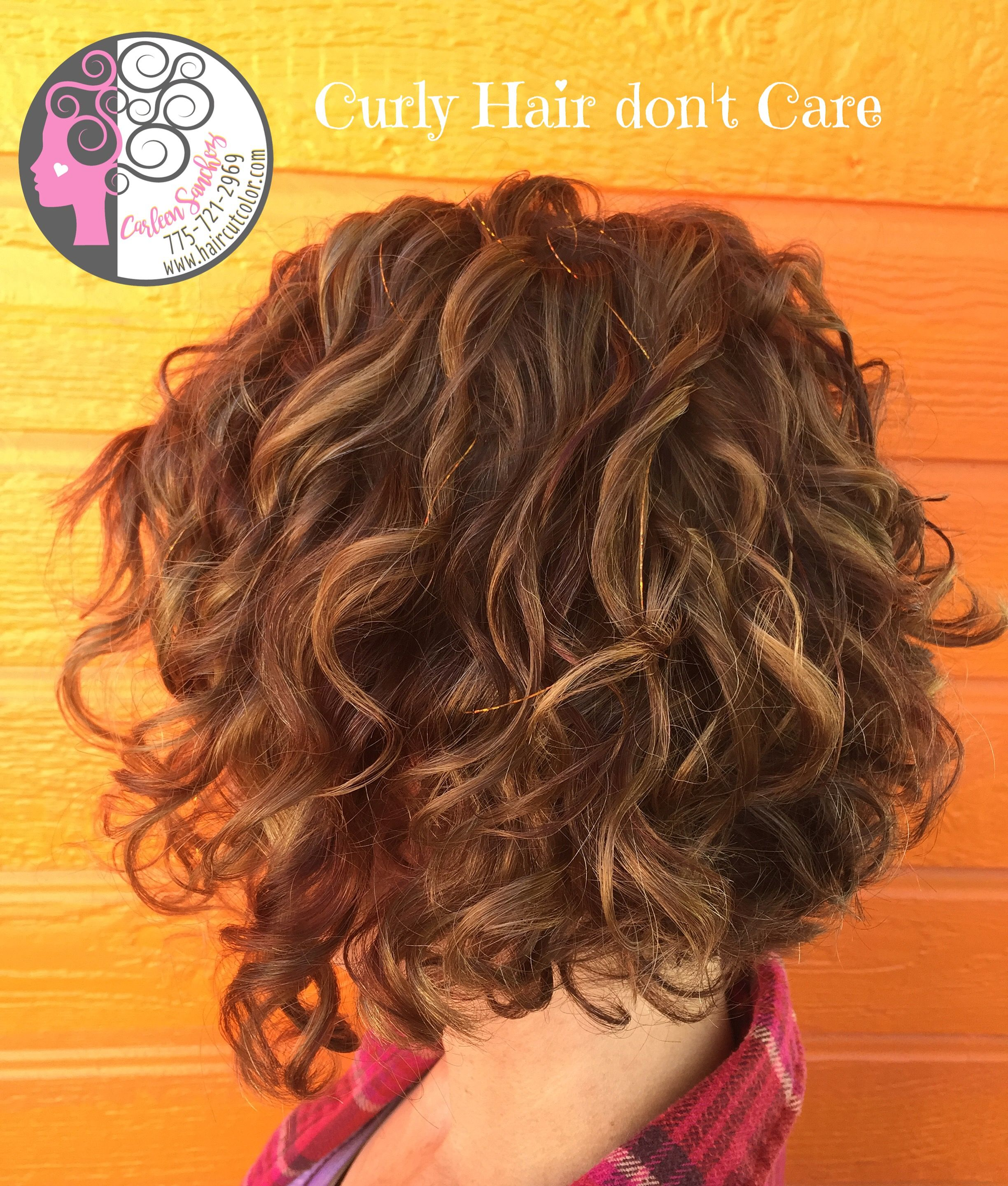 Naturally Curly Bob with Balayage high and low