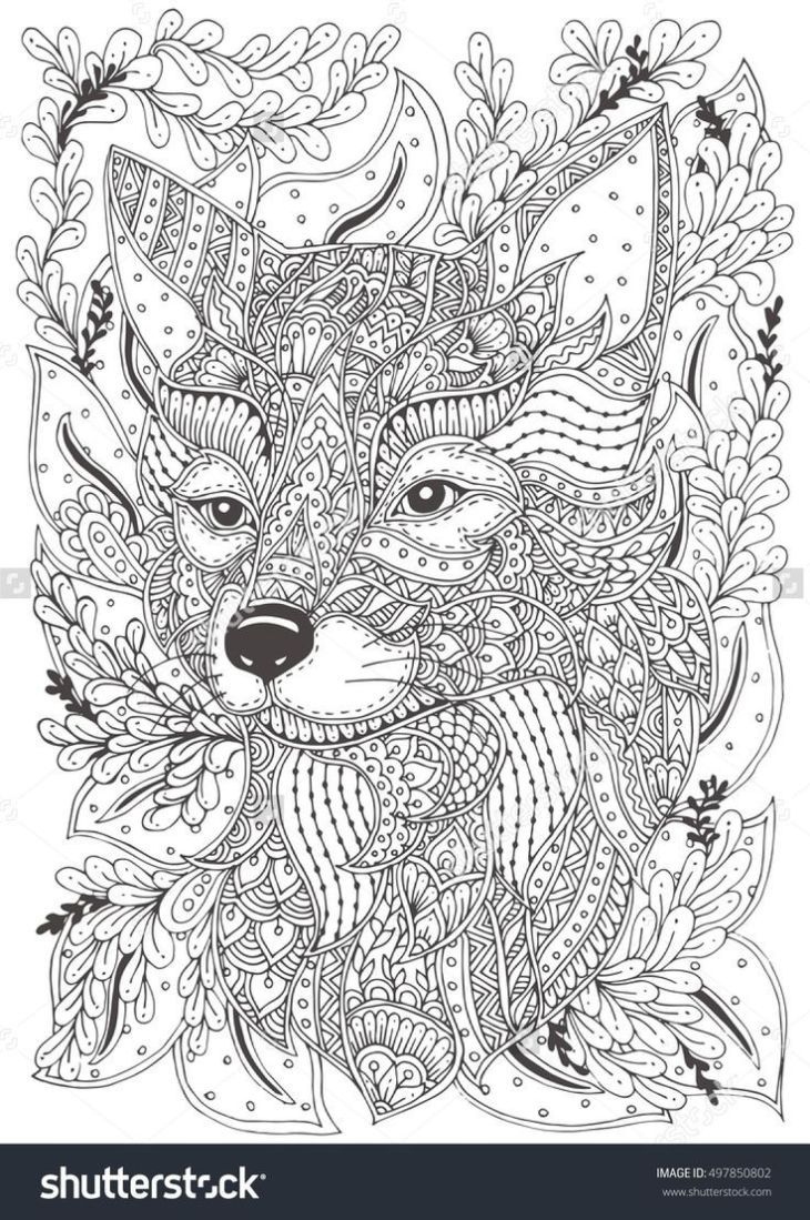 Fox Handdrawn with ethnic floral doodle pattern Coloring page