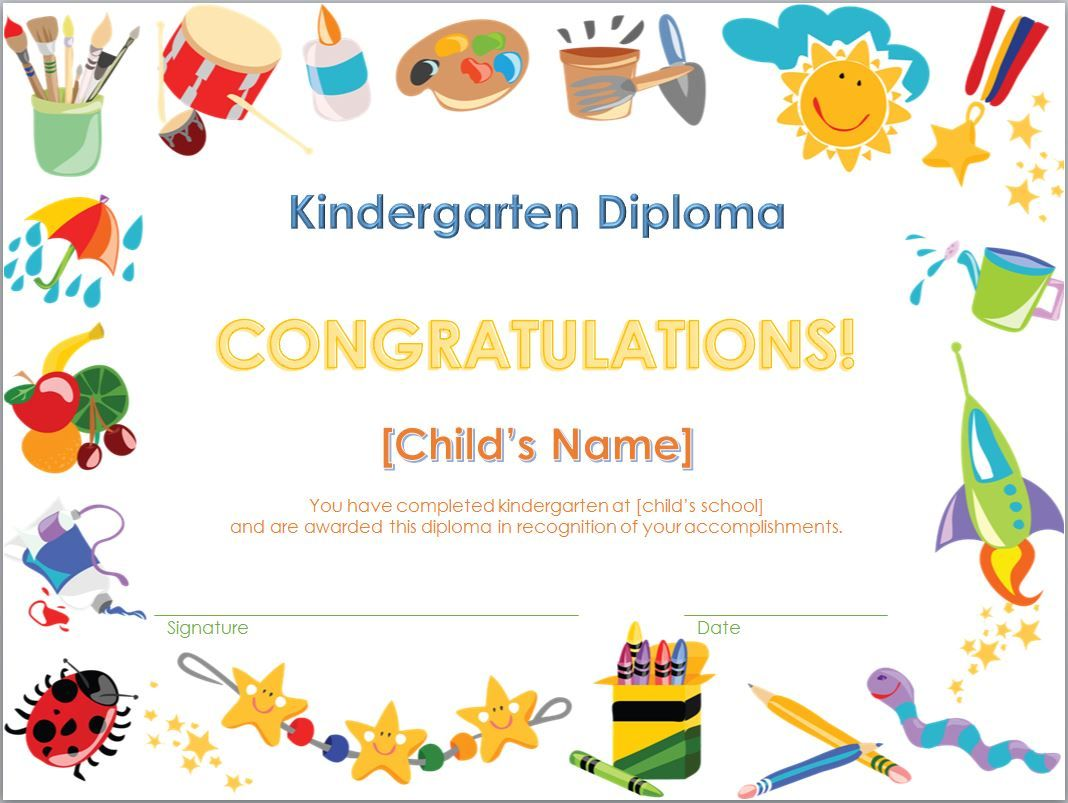 Screenshot Of The Kindergarten Diploma Template