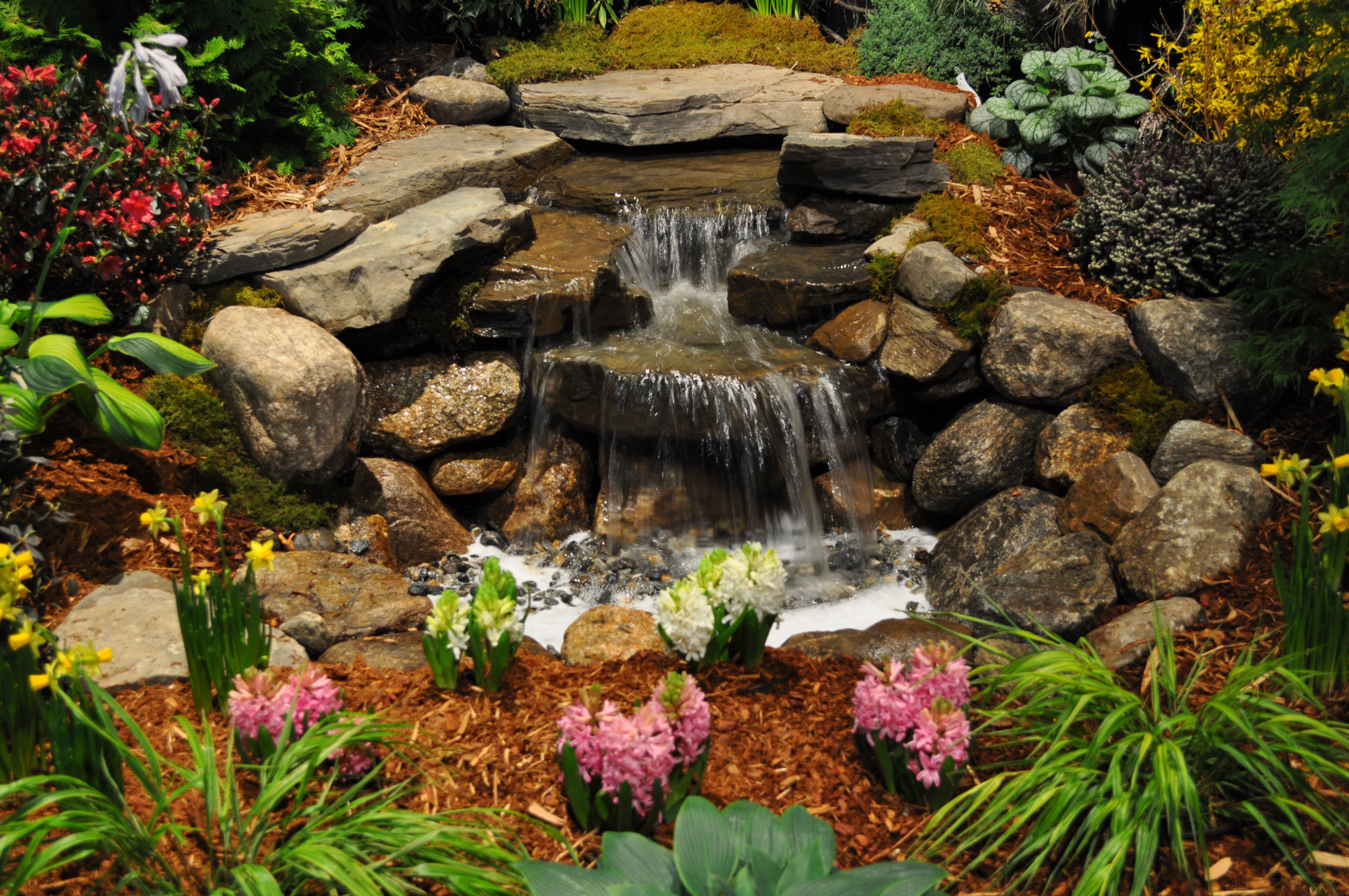YES! This is what I want my pondless waterfall to look ... on Small Pond Waterfall Ideas id=73954