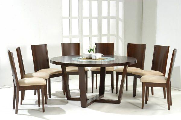 round dining tables for 8+ | Dark Walnut Modern Round ...