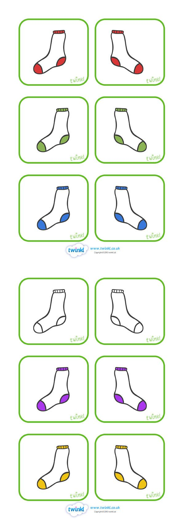 Twinkl Resources Gt Gt Matching Socks Colour Activity