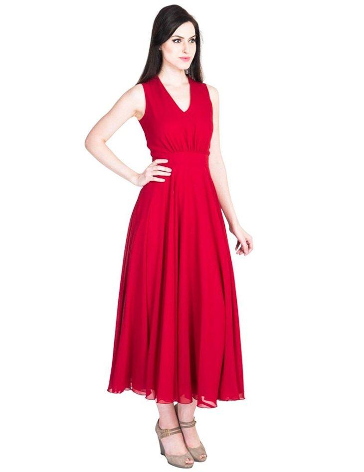 DuS Womenus Western Georgette Red Flayerd Party wear Long Maxi