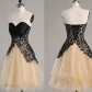 Sweetheart lace homecoming dresses champagne organza homecoming