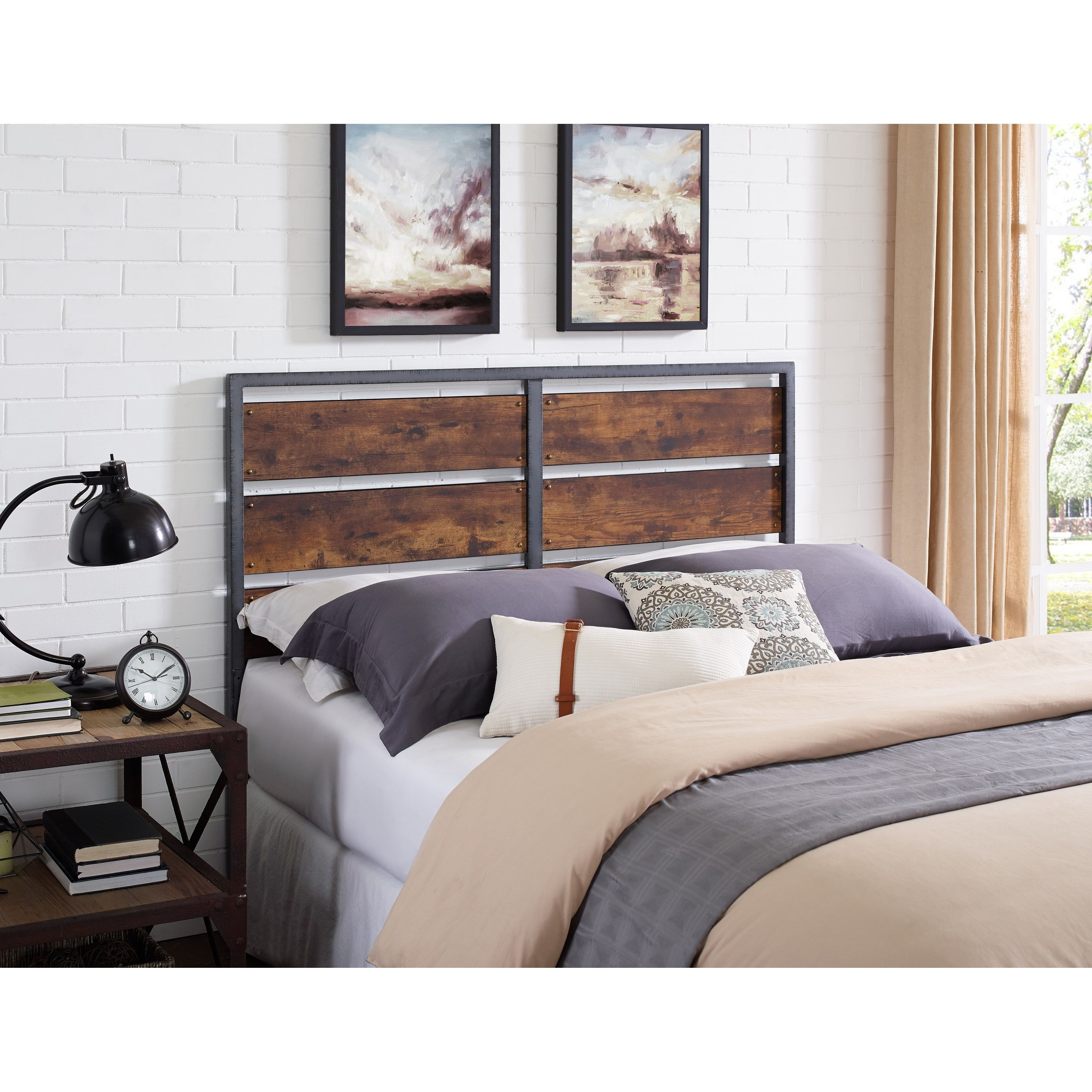 Size and Wood Plank Panel Headboard     Products   Pinterest   Wood     Bring an exciting look to your bed chamber by choosing this Walker Edison  Furniture Company Brown Queen Size Metal and Wood Plank Panel Headboard
