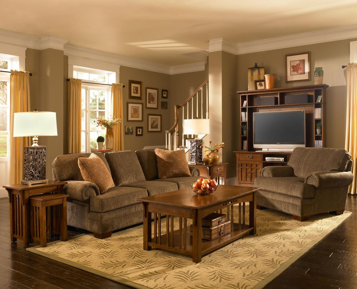 my dream living room. i love mission style furniture!   mission