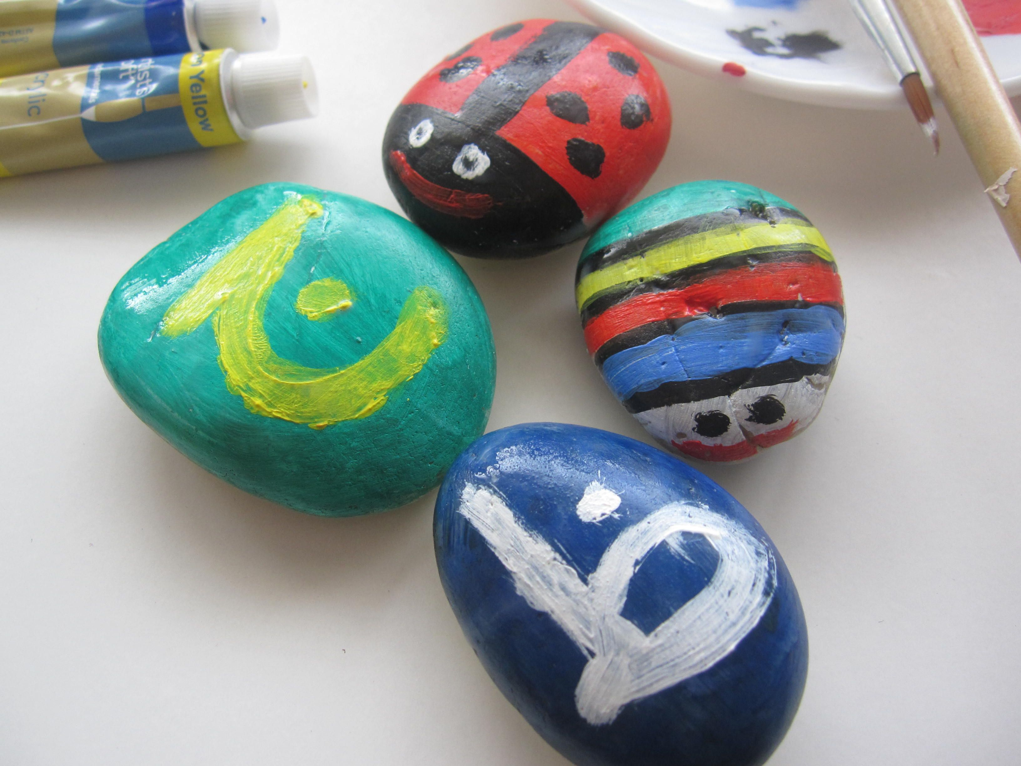 Painting Stones With Arabic Letters