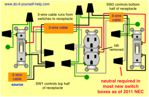 updated diagram for two switches to control one receptacle