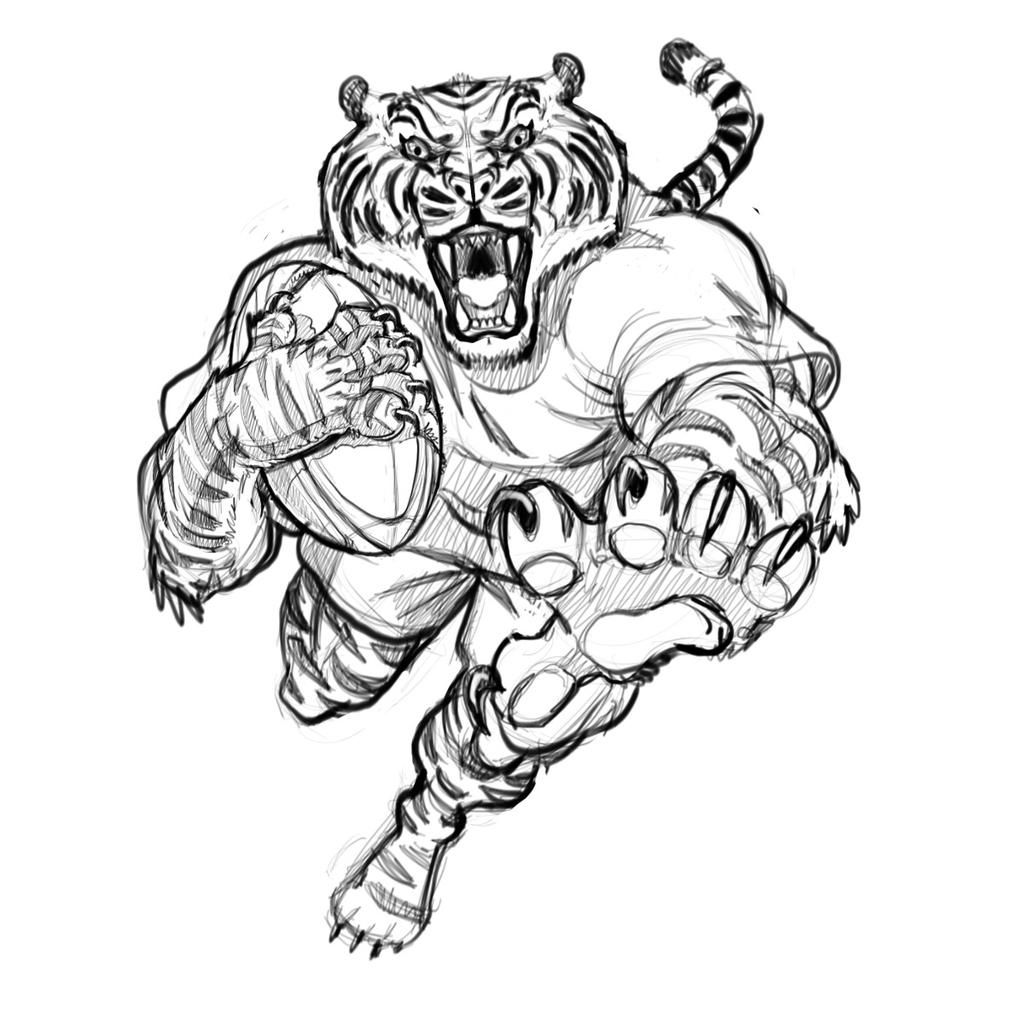 New Sketch Rugby Tiger Cartoon Illustration Mascot