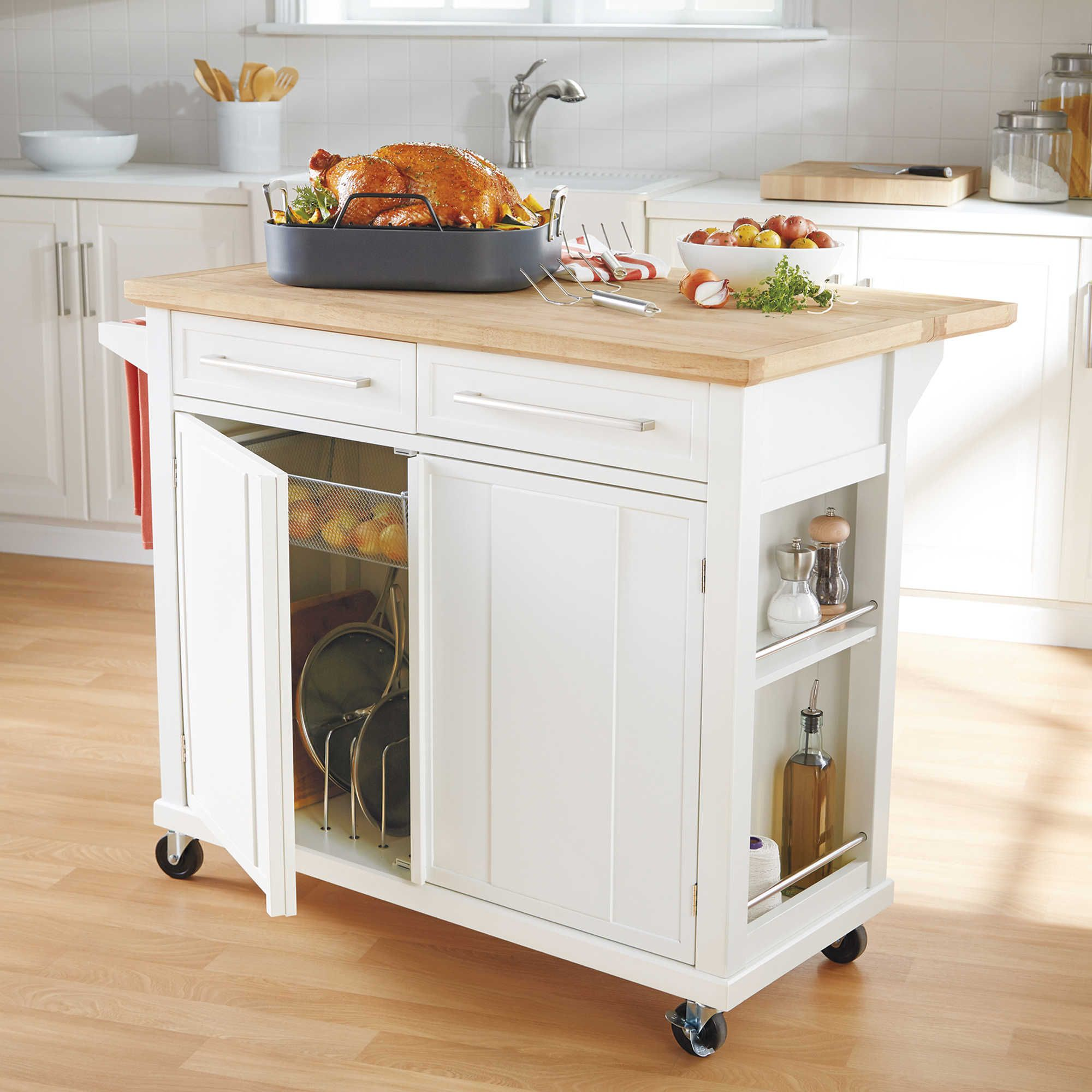 real simple rolling kitchen island in white rolling kitchen island real simple and bath on kitchen island ideas kitchen bar carts id=79956