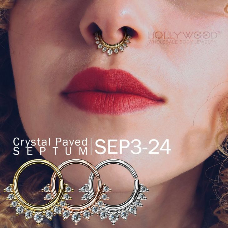 Gotta see this Crystal Paved Septum Wholesale Only Ships