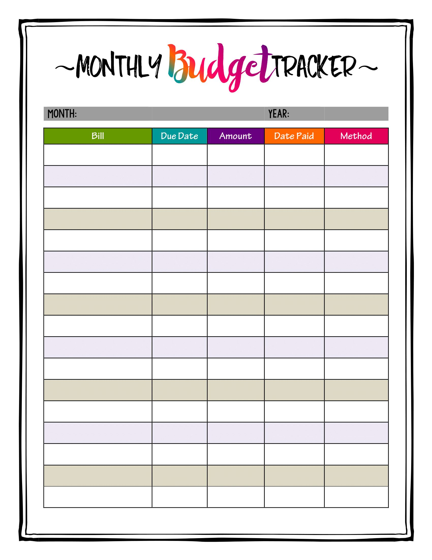 How To Organize Bills Super Bright Budget Tracker Makes Keeping A Budget Super Easy And Fun