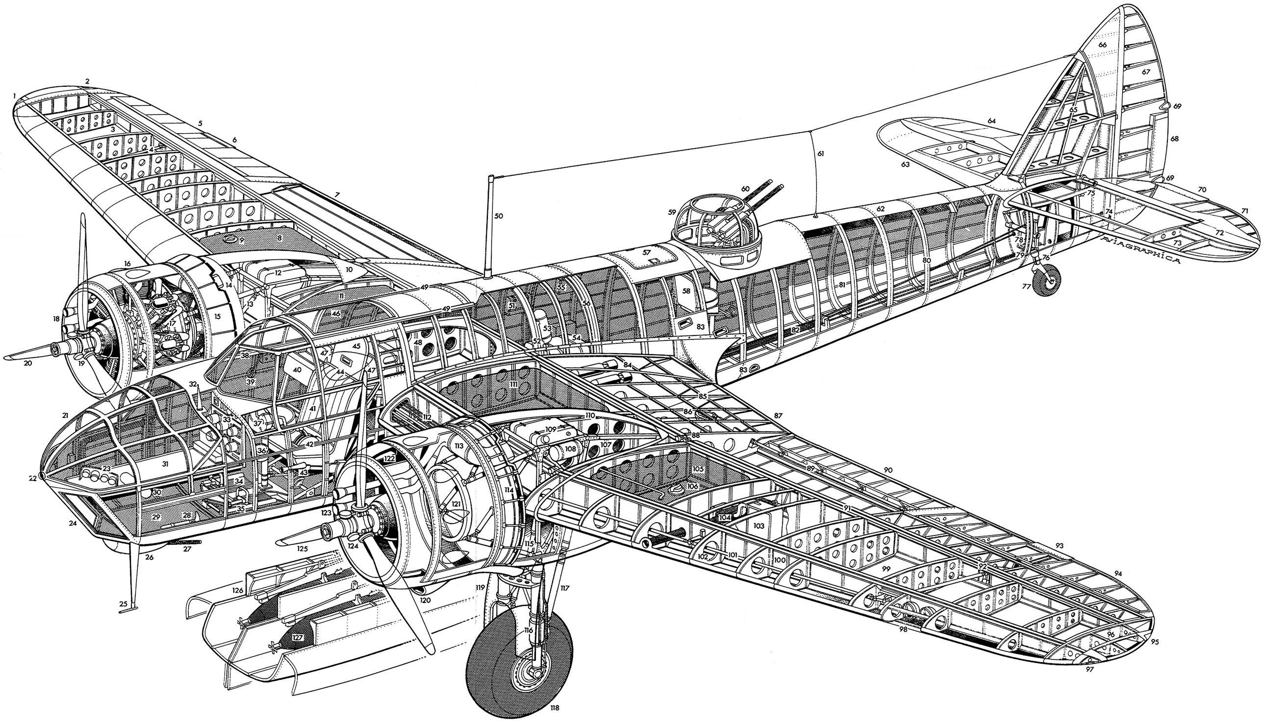 Cutaway View Of A Bristol Blenheimer