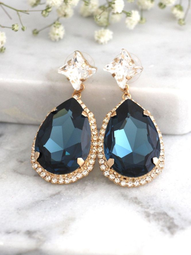 Blue Chandelier Earrings Navy Earnings Bridal Dark Dangle