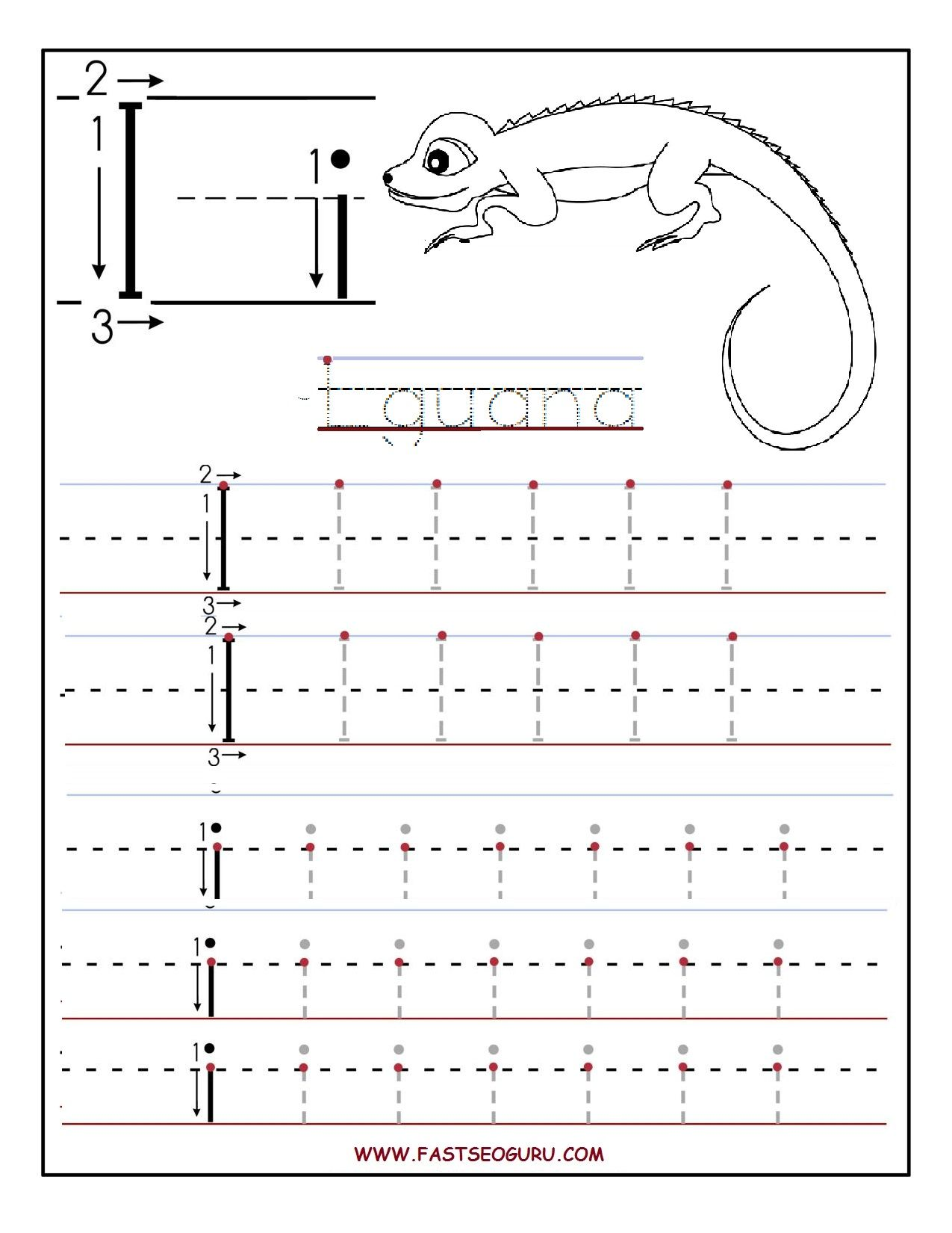 Printable Letter I Tracing Worksheets For Preschool 1 275 1 650 Pixels