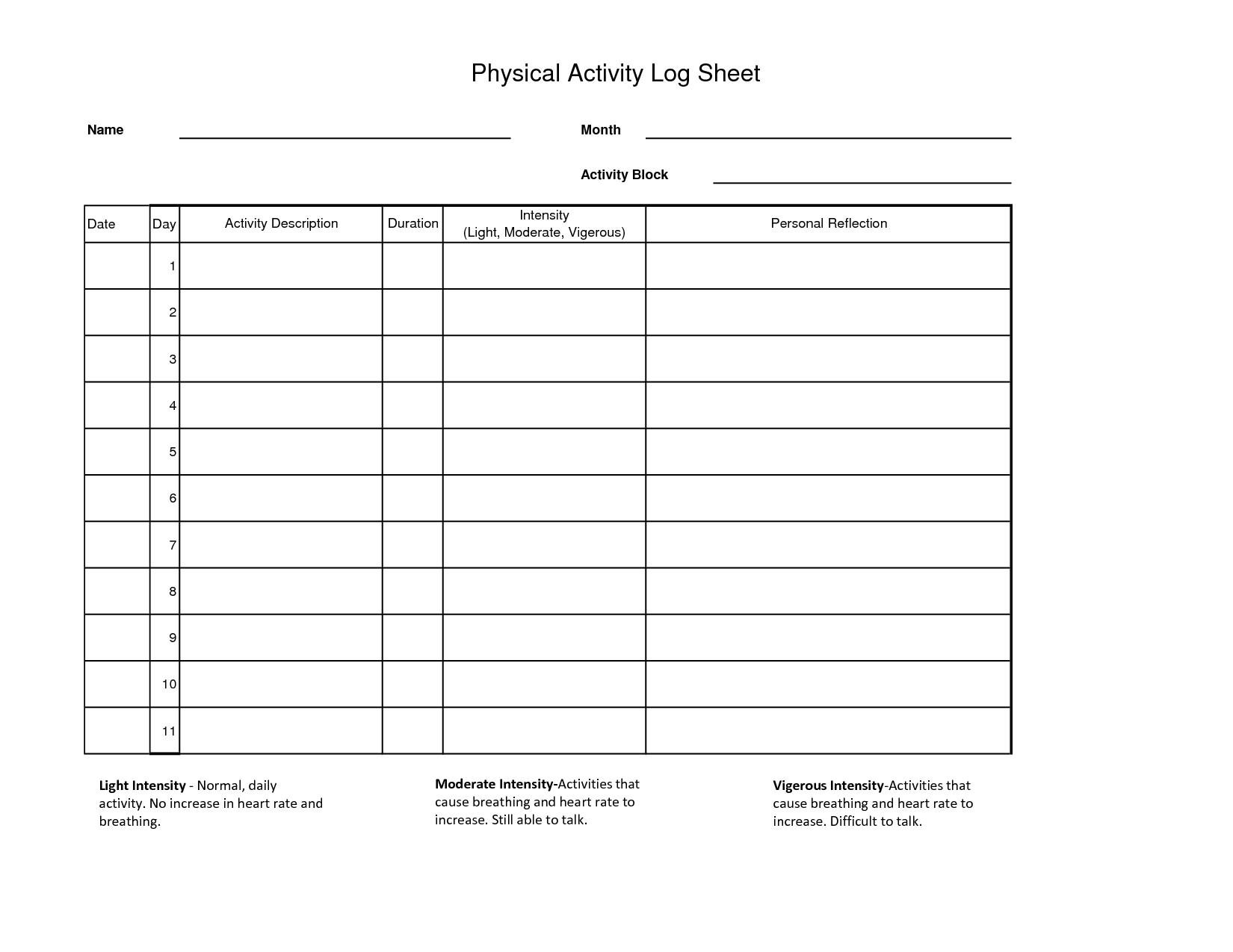 Workout Log Sheet