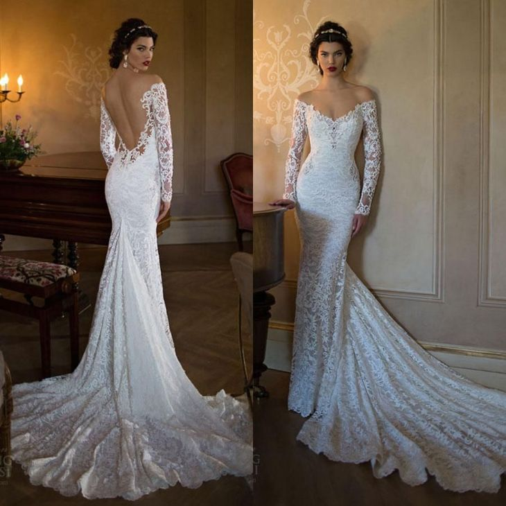 Berta Mermaid Backless Wedding Dresses Lace Applique Off The