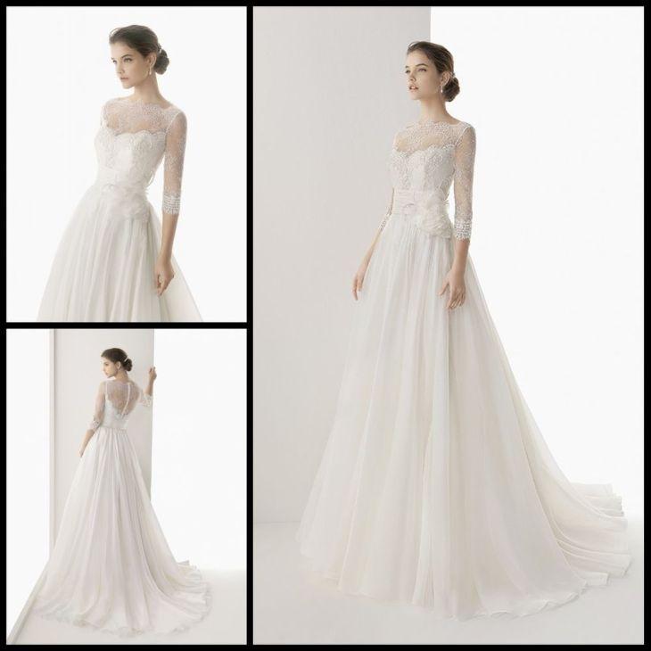 New WhiteIvory High Neck Long sleeve Wedding Dress Bridal Gown