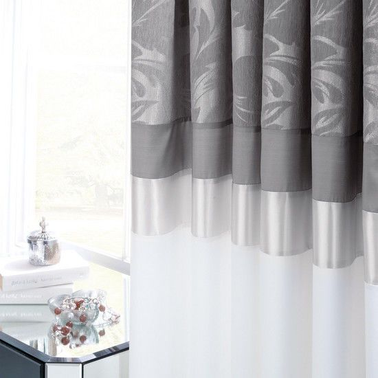 Dunelm Silver Roma Damask Thermal Pencil Pleat Curtains 66