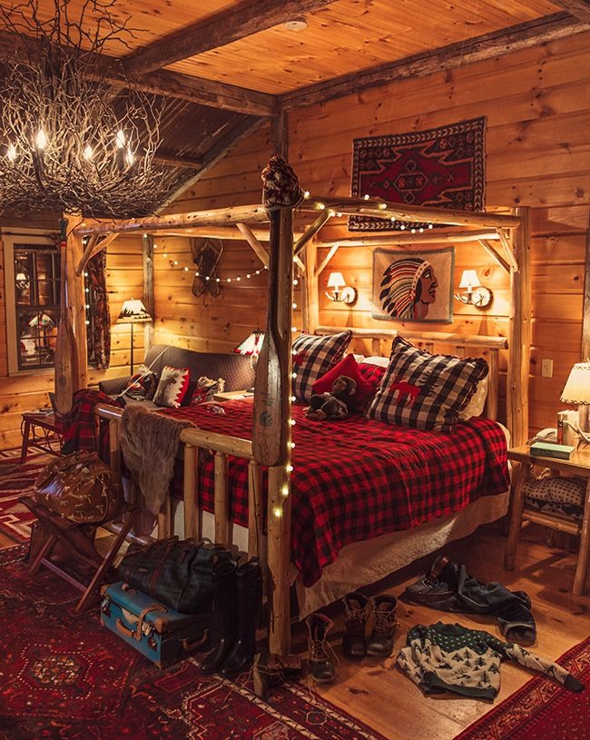 Buffalo Check Bedding White String Lights Twig