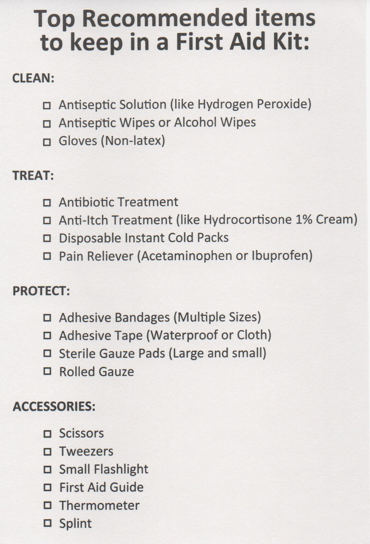 A Printable Checklist For The Top Recommended Items To Keep In A First Aid Kit