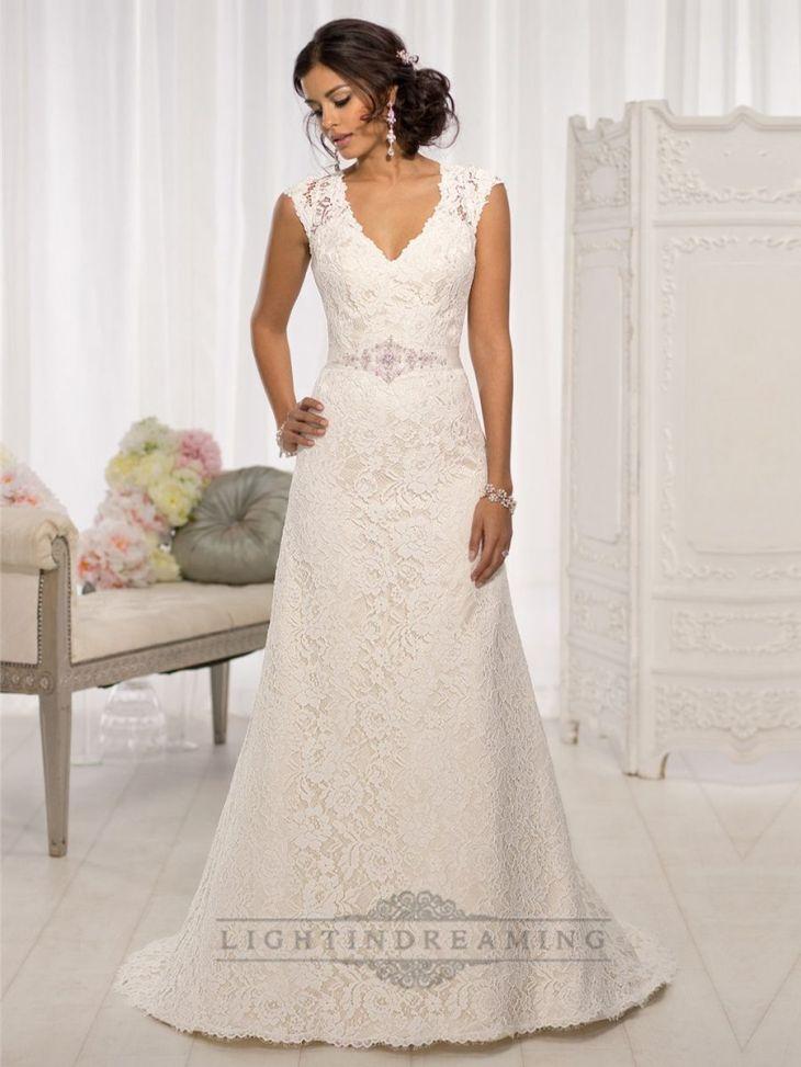Elegant Cap Sleeves Vneck Aline Wedding Dresses with Illusion Back