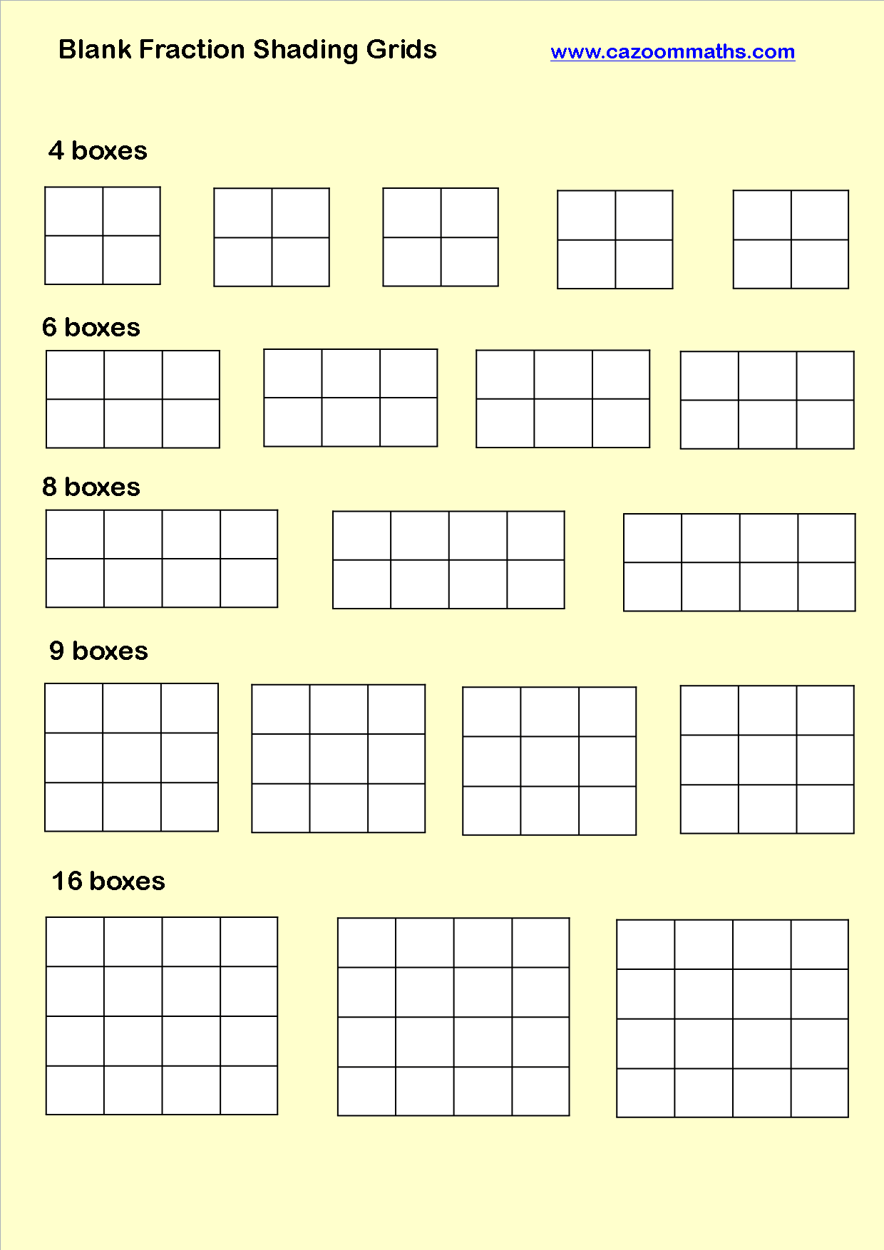 Blank Fraction Shading Grids