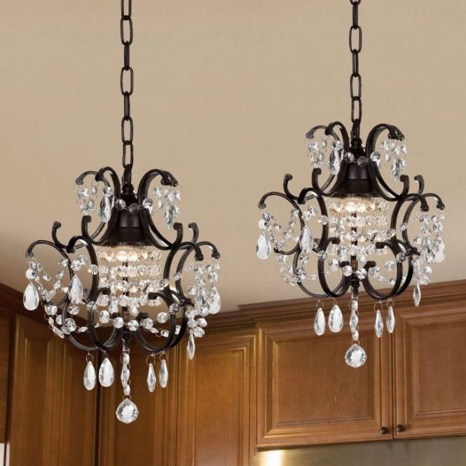 Gallery Versailles Wrought Iron And Crystal Mini Chandelier 2 In 1 Set