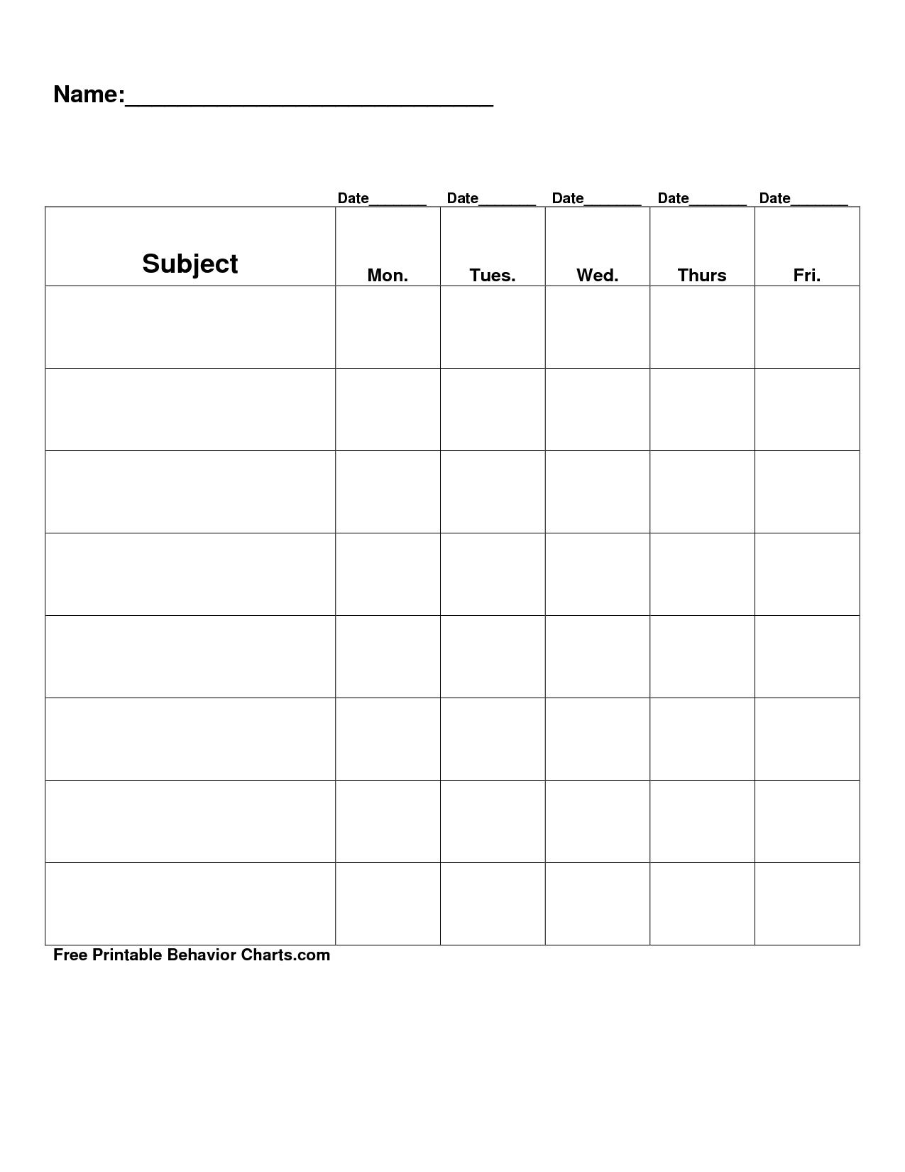 Free Printable Blank Charts