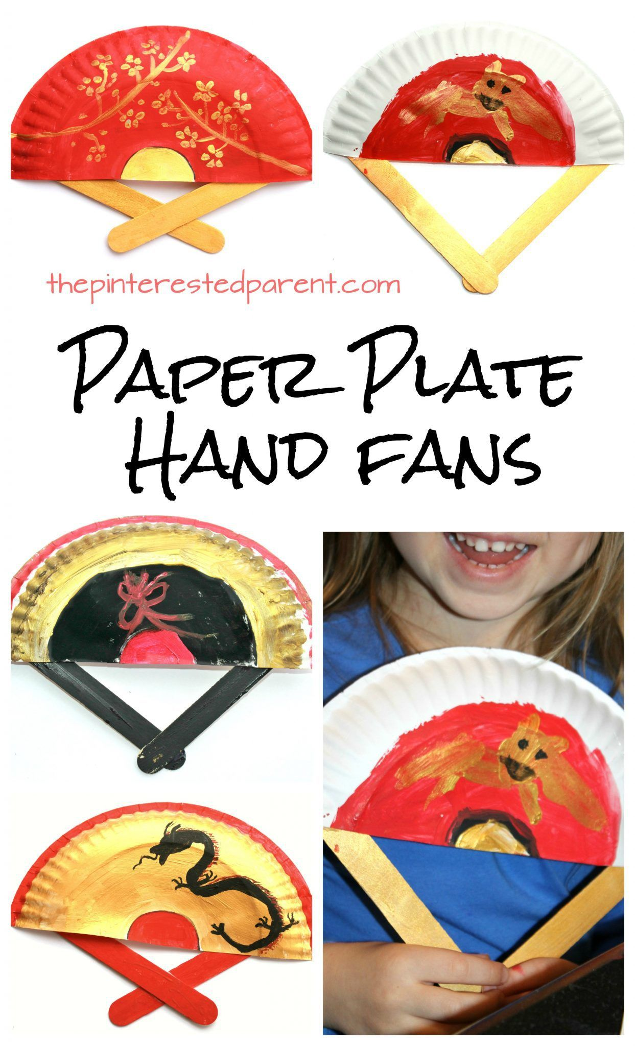 Painted Paper Plate Hand Fans Great For Chinese Lunar New