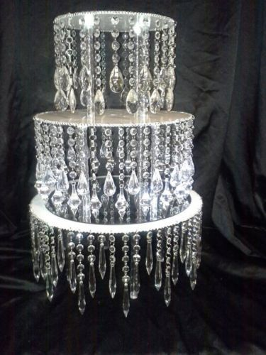Acrylic Crystal Chandelier Wedding Cake Stand Tall And Diameter In Home Garden Supplies Stands Plates