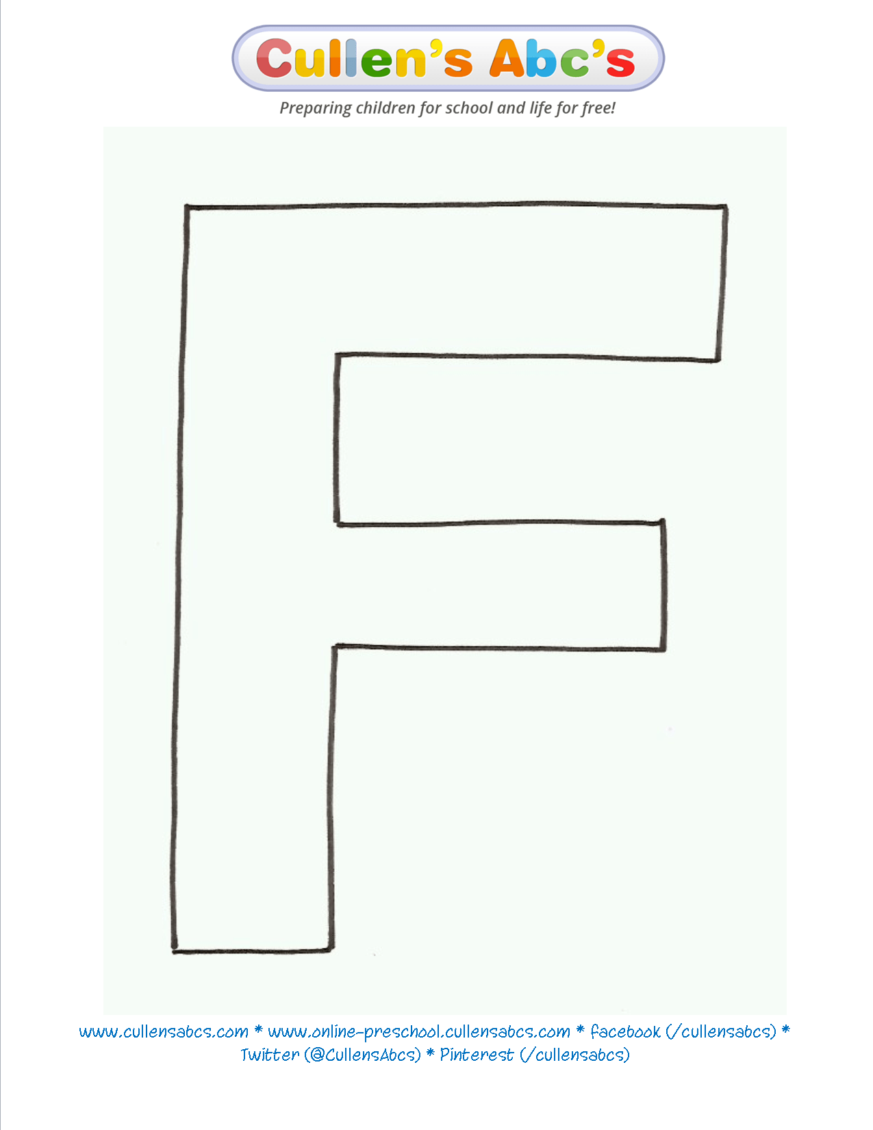 Letter F Uppercase Pattern Template Llensabcs