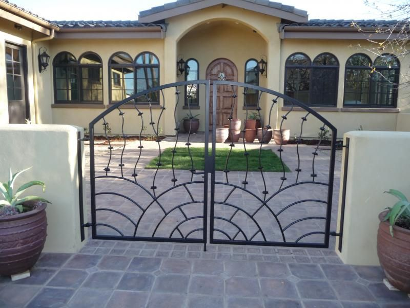 Exterior: Interesting Swing Gate Design Ideas With Black ... on Gate Color Ideas  id=18041