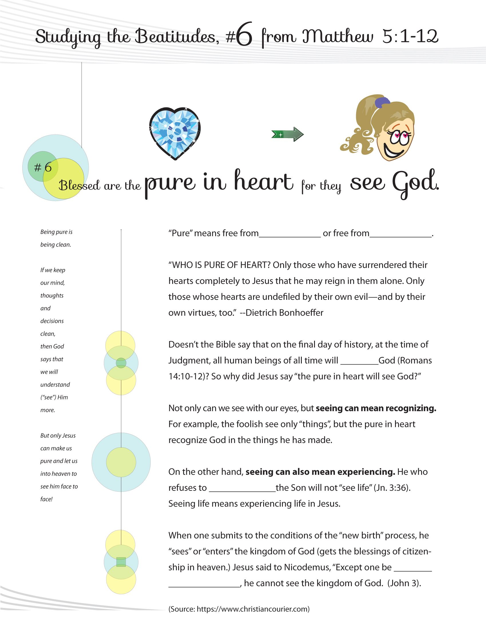 Worksheet To Teach The 6th Beatitude Of The Christian Life From Jesus Teaching His Famous Sermon