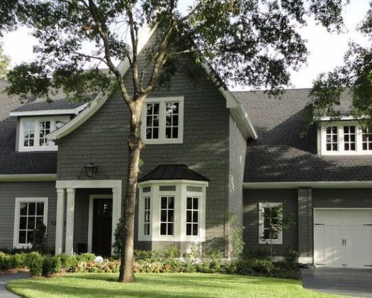 Gray Exterior Paint Amherst Hc Benjamin Moore With White Trim And Dark Door