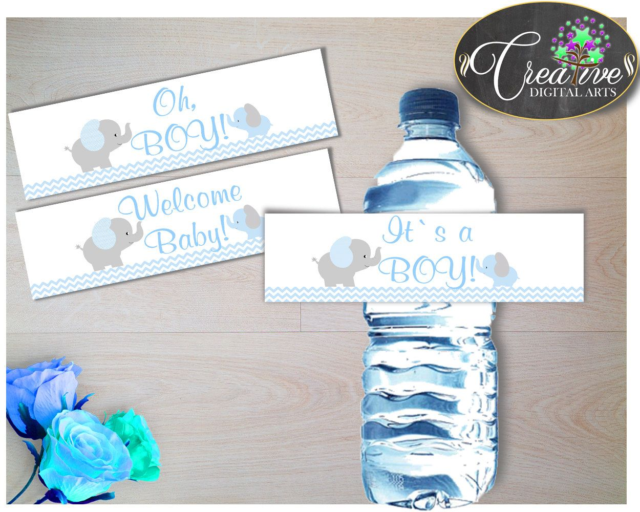 Blue And Gray Elephant Baby Shower Boy Water Bottle Labels