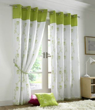 Lime Green Curtains Eyelet Lined Voile Tahiti 56 X 90
