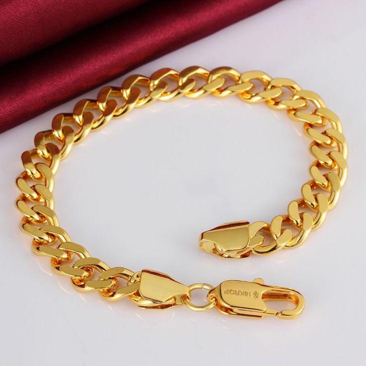 Fashion mm Chain Menus Bracelet Gold colour Titanium Steel Metal