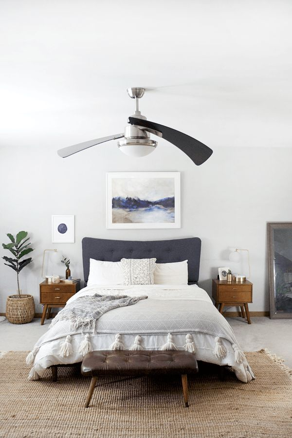 Modern bohemian bedroom in natural shades of blue ... on Boho Modern Bedroom  id=66946