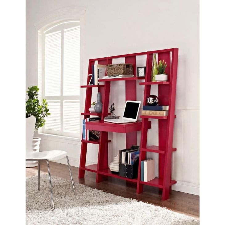 Ladder Open Shelf Bookcase with Desk in Red Shelves Home and