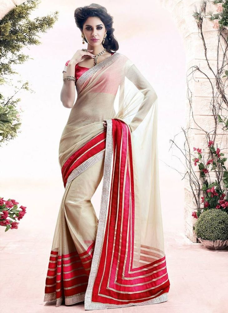 Latest Cream Faux Chiffon Designer Saree saree Pinterest Saree