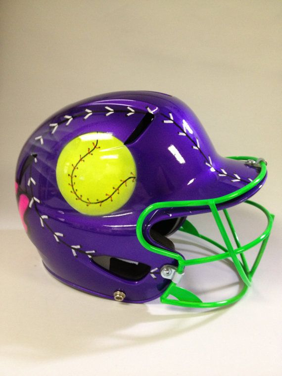 Airbrushed Ball And Bat Batting Helmet And Facemask Baseball T Ball Youth Softball Personalized New