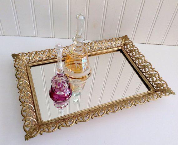 Vintage Gold Filigree Mirror Vanity Tray /Rectangle Tray