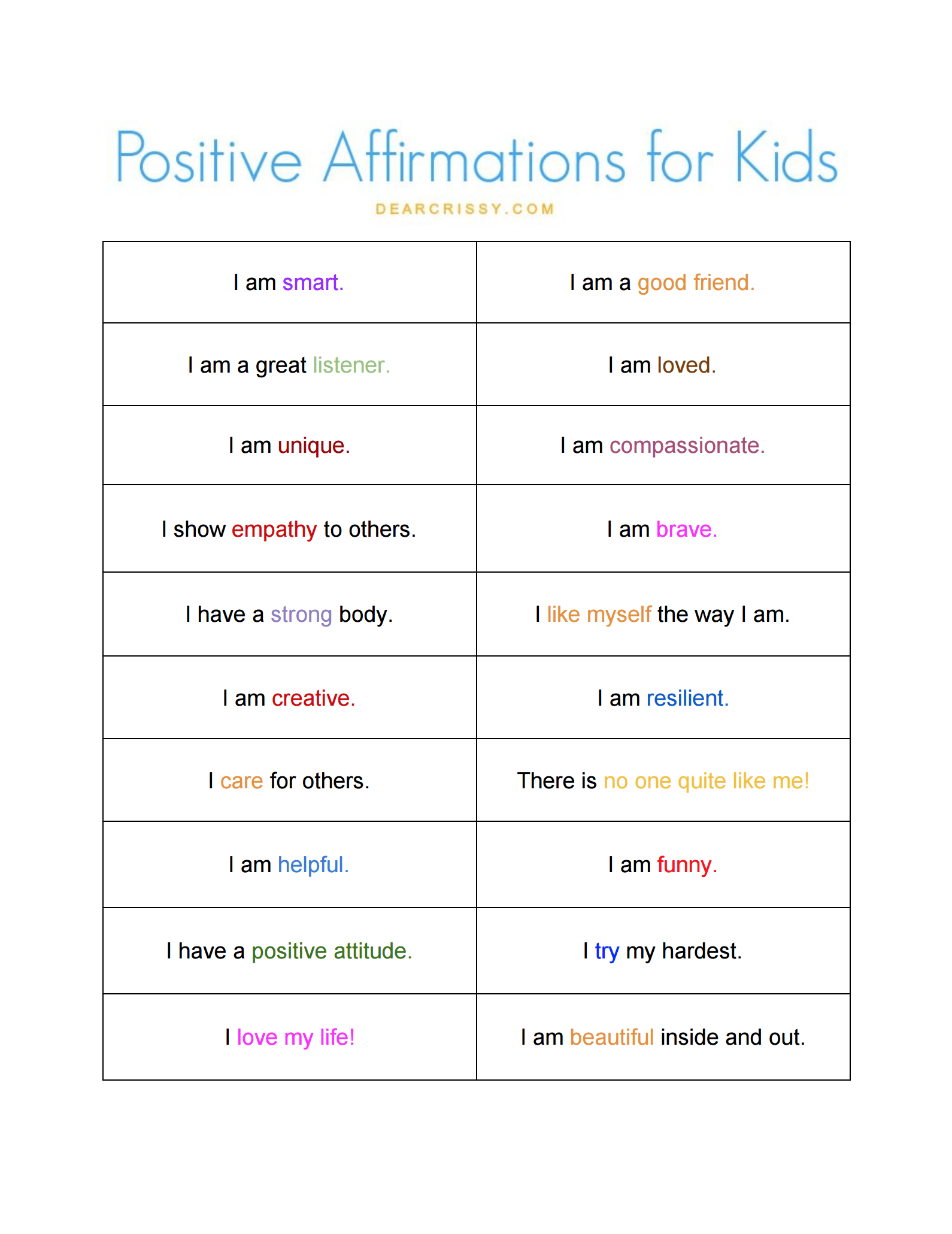Best 25 Positive Affirmations For Kids Ideas