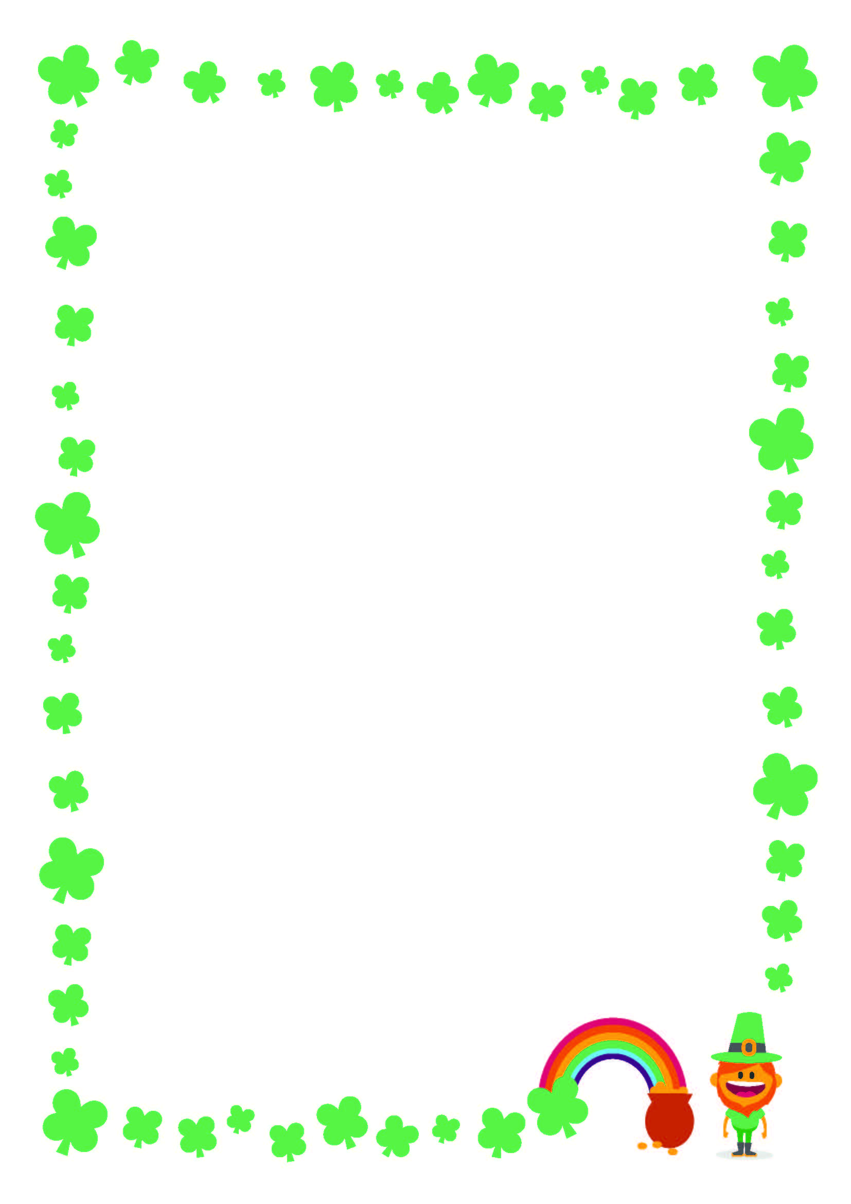 Free St Patrick S Day Printable Writing Paper With Clover