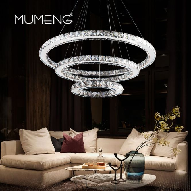 Reviews Led Crystal Pandant Light Modern Ring Ceiling Lamp Fixture 1 2 3 Circle Chandelier Lighting Dining Room Hanging Lamps Luxture